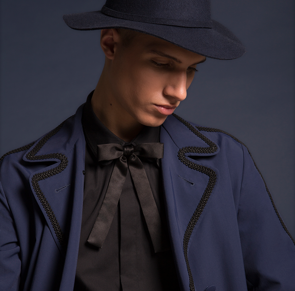 example of our work for designer deepak solanki, a blue jacket with a black